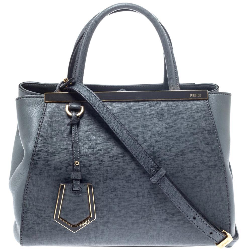 Fendi Grey Saffiano Leather Small 2Jours Tote