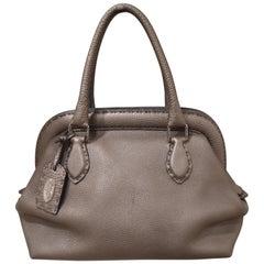 Fendi grey silver leather Selleria handbag