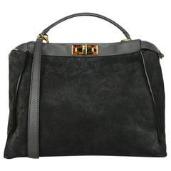 Fendi Grey Suede Large Peekaboo Bag w. Leopard Print Calf Hair Interior rt $4950