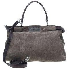 Fendi Grey Suede Medium Peekaboo Top Handle Bag