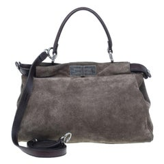 Fendi Grey Suede Small Peekaboo Tote