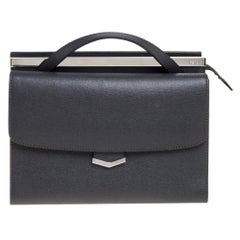 Fendi Grey Textured Leather Small Demi Jour Top Handle Bag