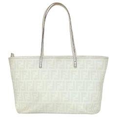 Fendi Grey/White FF Monogram Coated Canvas Zucca Zip Top Tote Bag