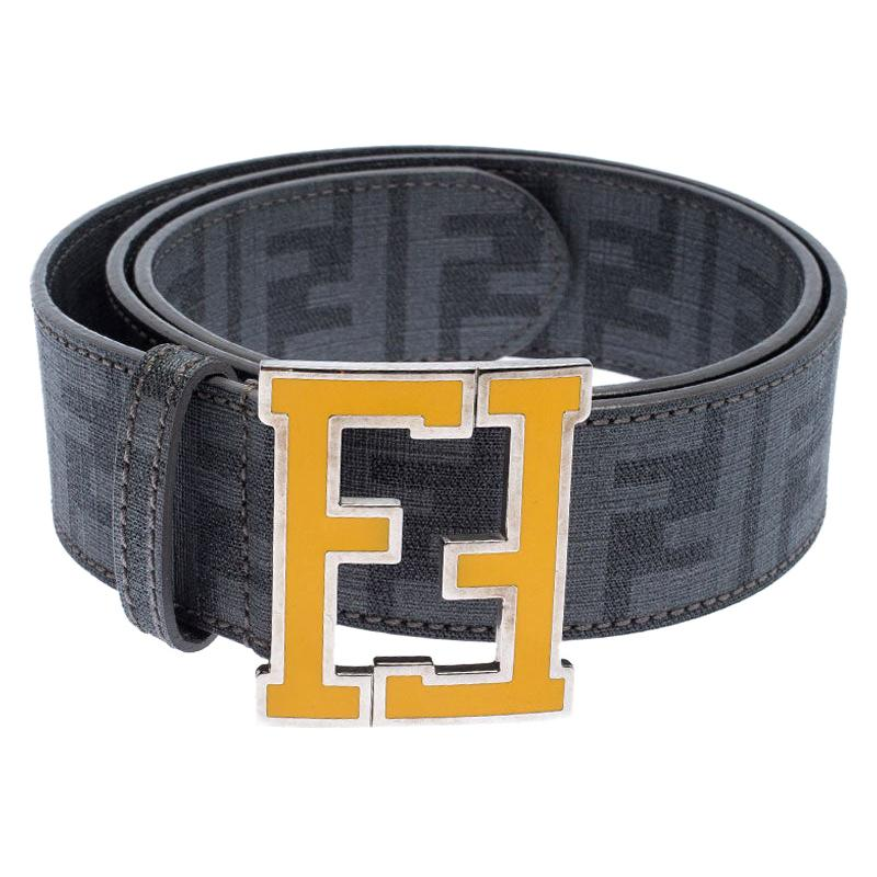Fendi Grey Zucca Coated Canvas FF Buckle Belt 106CM For Sale