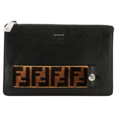 Fendi Handle Clutch Leather with Zucca Velvet Small
