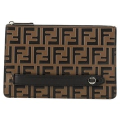 Fendi Handle Clutch Zucca Embossed Leather