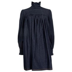 FENDI indigo blue cotton DENIM OVERSIZED Shift Dress 42 M