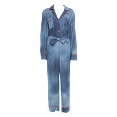 Fendi Indigo Denim Effect Printed Belted Jumpsuit M