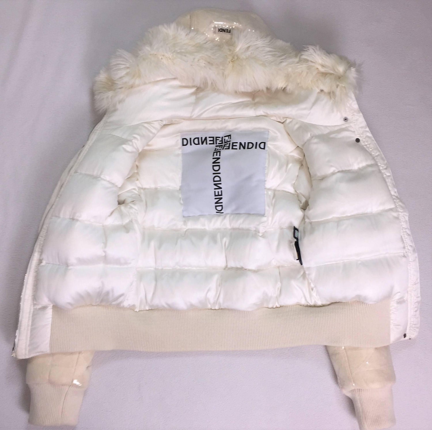 aafd735c6cc Fendi Ivory Beaded and Sequin Hoodie Hooded Down Puffer Jacket Coat with  Fur at 1stdibs