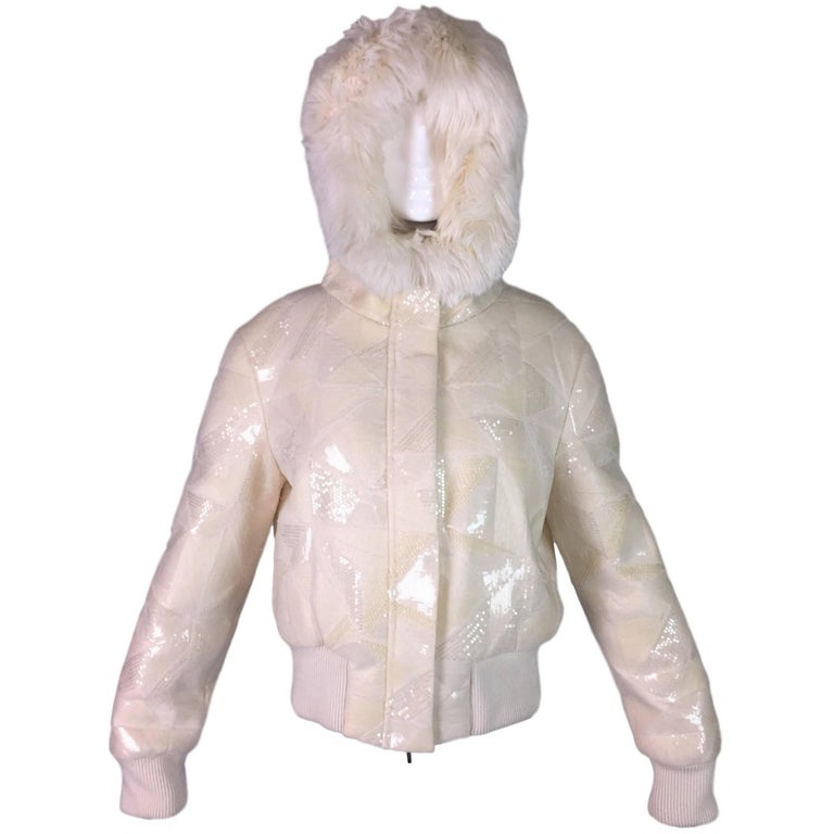 Fendi Ivory Beaded and Sequin Hoodie Hooded Down Puffer Jacket Coat with Fur