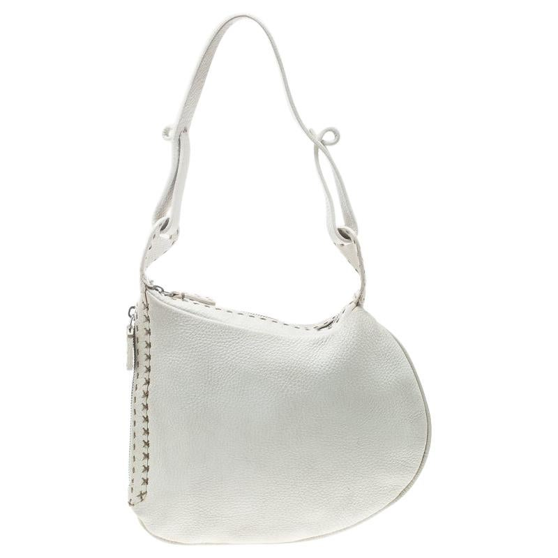 Fendi Ivory Selleria Leather Small Oyster Hobo