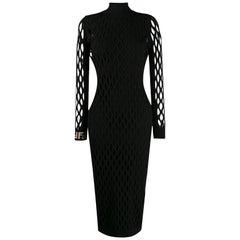 Fendi Jacquard-Knit Stretch-Mesh Midi Dress