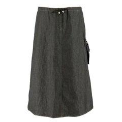 Fendi Jeans Black Denim Midi Skirt 44 I
