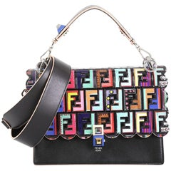 Fendi Kan I Bag Leather with Zucca Embossed Patent Medium