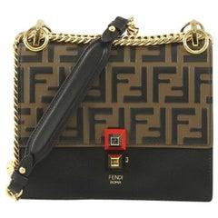 Fendi Kan I Bag Logo Embossed Leather Small