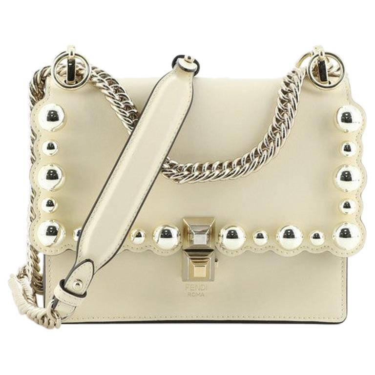 Fendi Kan I Bag Pearl Embellished Leather Small