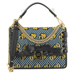 Fendi Kan I Bow Bag Whipstitch Printed Velvet Medium