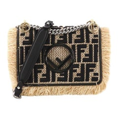 Fendi Kan I F Shoulder Bag Embroidered Raffia Small