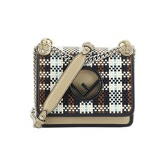 Fendi Kan I F Shoulder Bag Woven Leather Small
