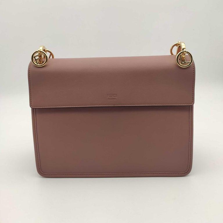 Gray FENDI Kan I Handbag in Pink Leather