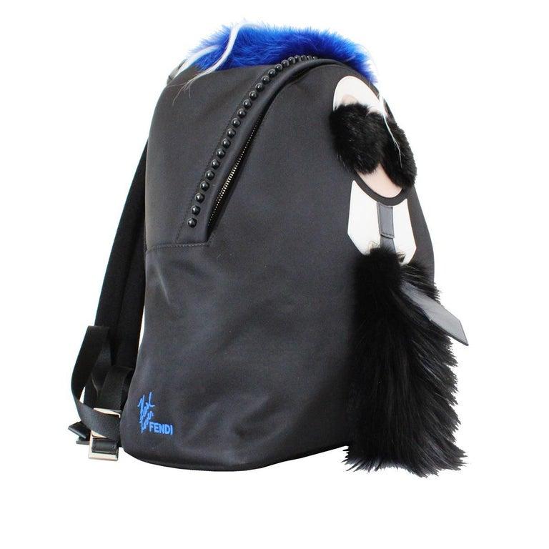 Black Fendi Karlito Fur Backpack For Sale