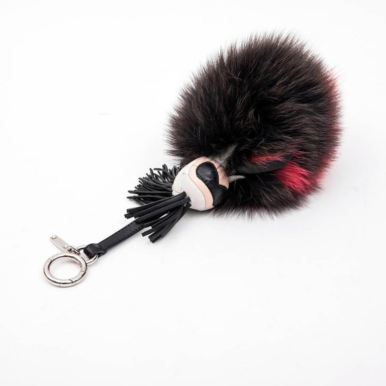 FENDI 'Karlito' Keychain or Bag Charm in Mink Fur In Excellent Condition For Sale In Paris, FR