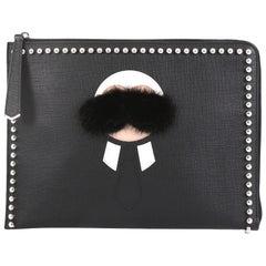 Fendi Karlito Pouch Studded Saffiano Leather Medium