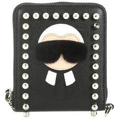 Fendi Karlito Zip Around Wallet Studded Saffiano Leather Compact