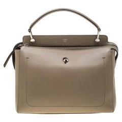 Fendi Khaki Leather Dotcom Top Handle Bag