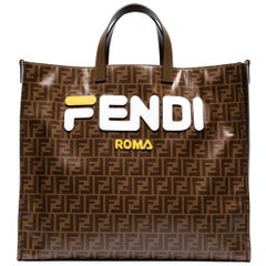 Fendi Leather Appliquéd Coated Canvas Tote Bag
