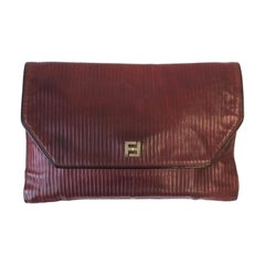 Fendi Leather Handbag Clutch in Red Burgundy