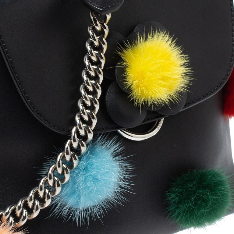 Fendi Leather Mini Mink Pom Pom Back To School Backpack For Sale 5
