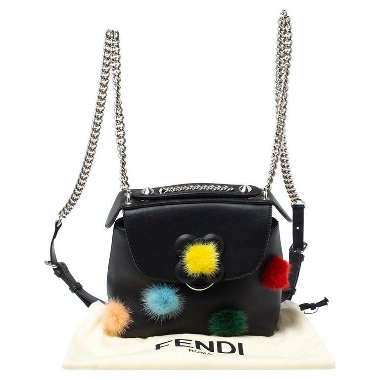 Fendi Leather Mini Mink Pom Pom Back To School Backpack For Sale 6
