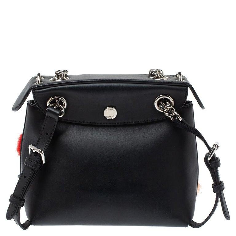 Black Fendi Leather Mini Mink Pom Pom Back To School Backpack For Sale