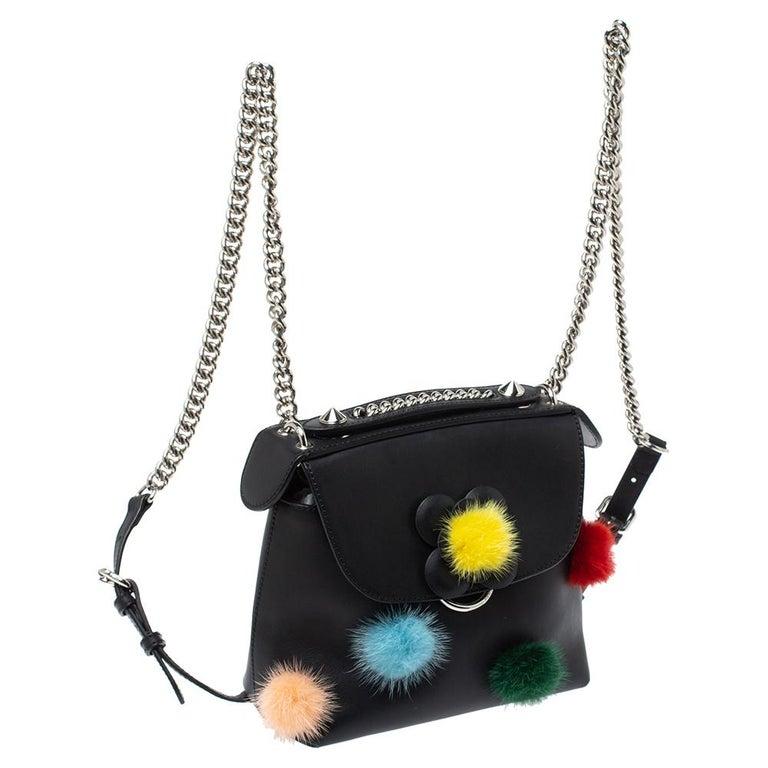 Fendi Leather Mini Mink Pom Pom Back To School Backpack In Good Condition For Sale In Dubai, Al Qouz 2