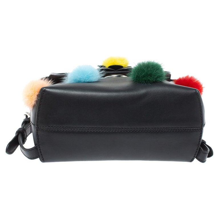 Fendi Leather Mini Mink Pom Pom Back To School Backpack For Sale 2