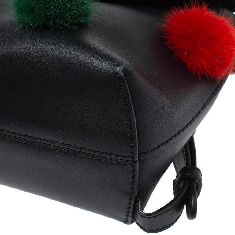 Fendi Leather Mini Mink Pom Pom Back To School Backpack For Sale 3