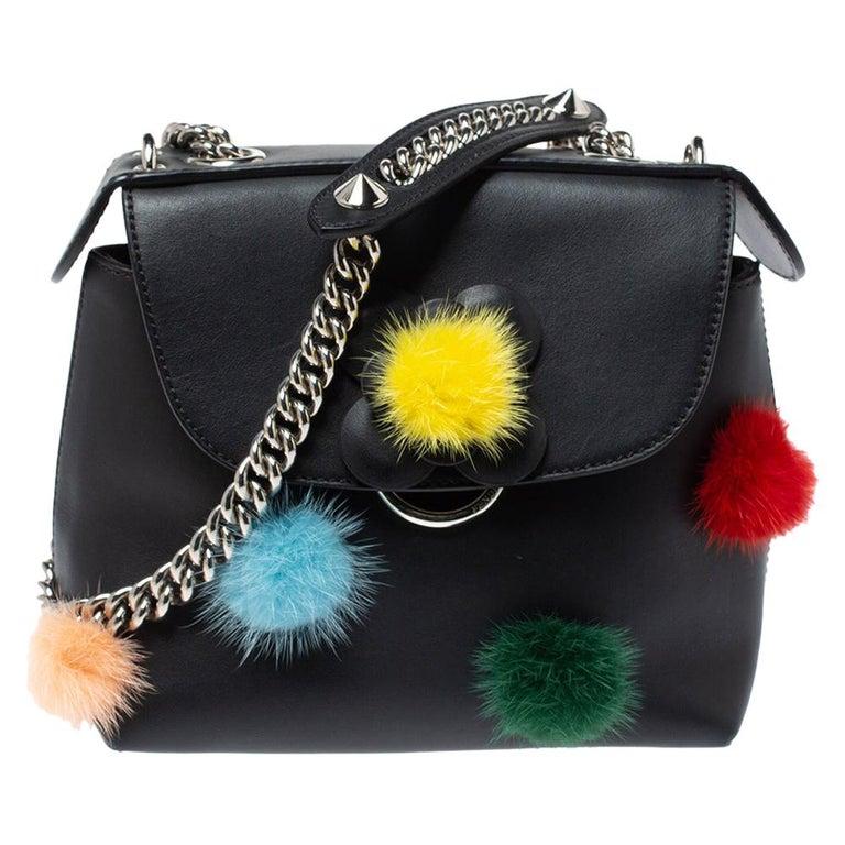 Fendi Leather Mini Mink Pom Pom Back To School Backpack For Sale