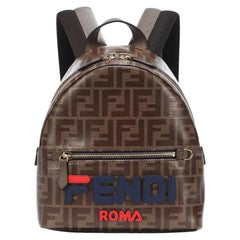 Fendi Leather-Trimmed Printed Coated-Canvas Backpack