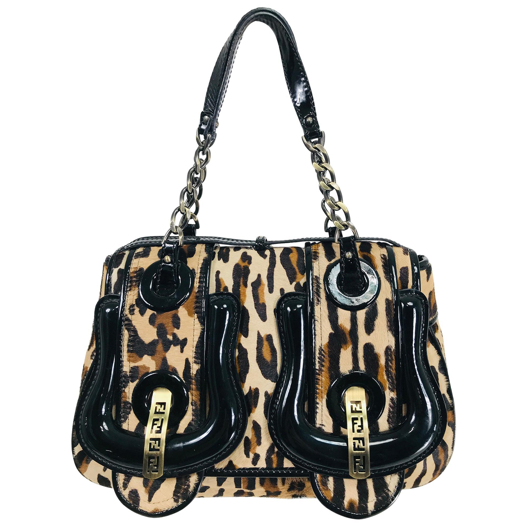 Fendi Leopard Print Calf Hair and Black Patent Leather B Bag
