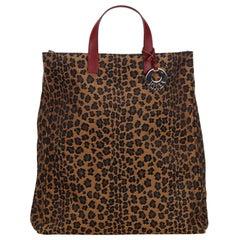 Fendi Leopard Print Canvas Tote Bag