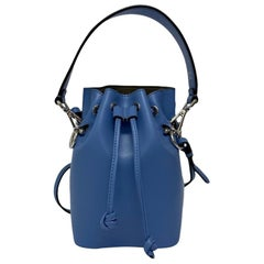 Fendi Light Blue Leather Bucket Bag