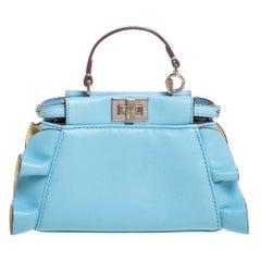 Fendi Light Blue Leather Micro Peekaboo Top Handle Bag