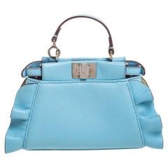 Fendi Light Blue Leather Micro Peekaboo Wave Crossbody Bag