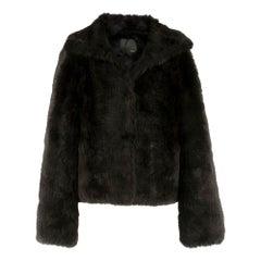 Fendi Lightweight Black Rabbit Fur Jacket S IT 42