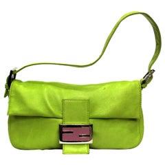 Fendi Lime Green Leather Baguette Bag