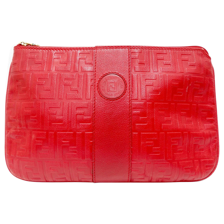 Fendi Lipstick Red Monogram Leather Clutch