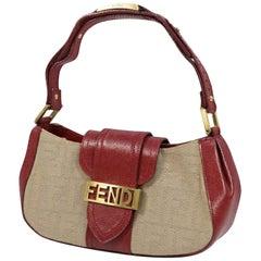 FENDI logo metal plate Zucca pattern one shoulder Womens handbag 2305/8BR396 red