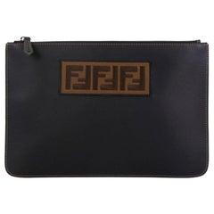 Fendi Logo Pouch Leather Medium