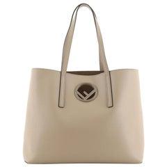 Fendi Logo Shopper Tote Leather